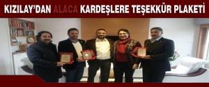 Kızılay'dan Alaca Kardeşlere Teşekkür Plaketi