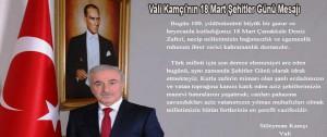 Vali Kamçı'nın 18 Mart Şehitler Günü Mesajı