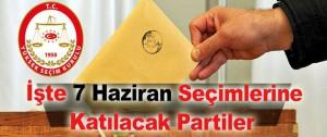 7 Haziran 2015 Seçimlerine Katılan Partiler