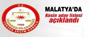 Malatya'da Kesin Aday Listesi..