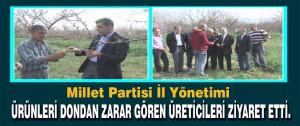 Millet Partisi İl Yönetimi Ürünleri Dondan Zarar Gören Üreticileri Ziyaret Etti.