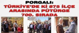 Porgalı Türkiye'de ki 875 İlçe Arasında Pütürge 700. Sırada