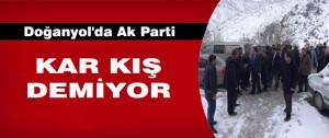 Doğanyol'da Ak Parti Adaylarının Konvoyuna Kar Engeli