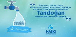 Tandoğan Mahallesi'nde Su Kesintisi Yaşanacak